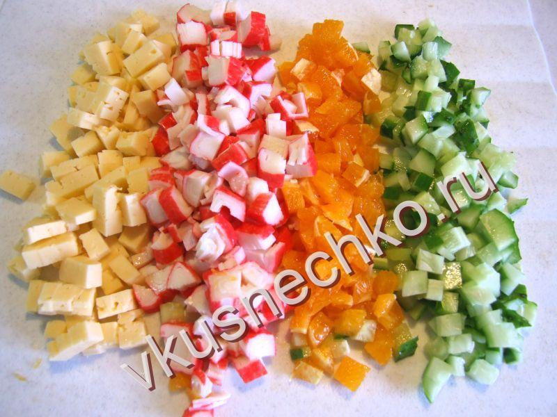 Крабовый салат с свежим огурцом