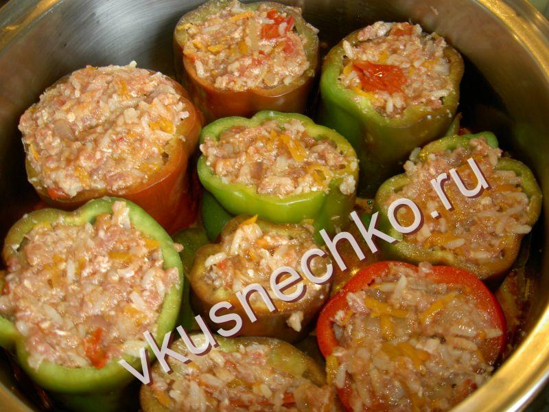 Фаршированный перец с мясом и рисом в кастрюле рецепт пошагово в